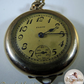 Elgin 1921 Pocket Watch Railroad B&B Royal Gold Plated Case with Fob connection