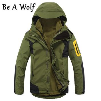 Be A Wolf Hiking Jacket Men's 2 in1 Inner Fleece Waterproof Outdoor Sports Warm Coat Camping Trekking Skiing Male Jackets 28