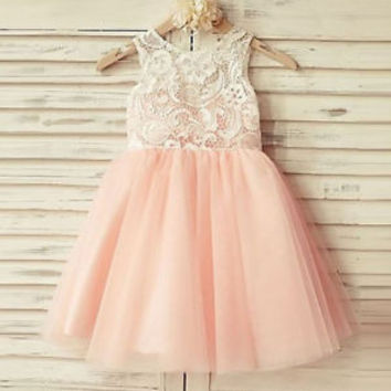 Pink Tulle Lace Flower Girl Dress First Communion Pageant Dress 2T 3T 4T 5T 6T