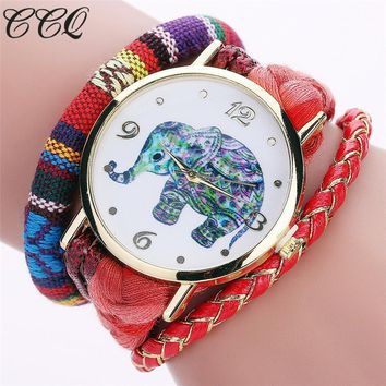 Women Bohemian Style Handmade Braided Elephant And  Colorful Rope Watch