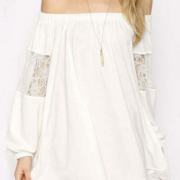 Chic Off The Shoulder Balloon Sleeve Sheer Loose A-Line Mini Dress