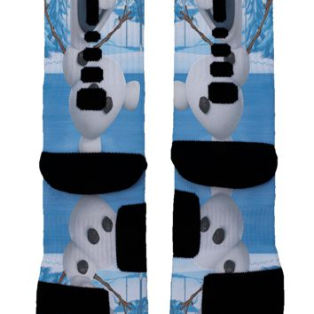Frozen Snowman Olaf Custom Nike Elite Socks