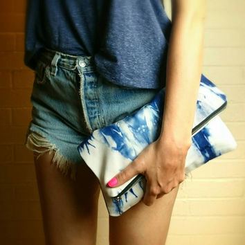 Indigo Shibori Foldover Clutch Purse Handmade Hand dyed women's handbag summer accessories gift blue white
