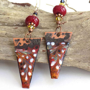 Boho Dangle Earrings for Women, Red Earrings, Extra Long Earrings, Copper Earrings, Lightweight Earrings, Gift for Girlfriend, Earrings Gift
