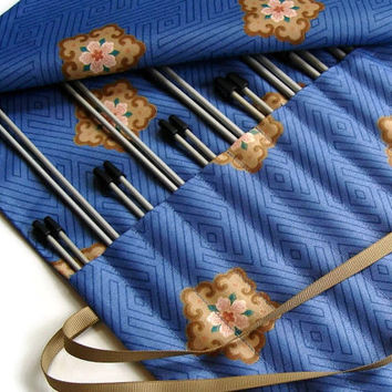 Knitting Needle Case Roll Up Needle Organizer Cloisonne