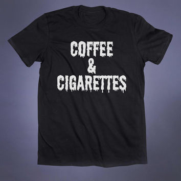 Coffee And Cigarettes Slogan Tee Grunge Punk Emo Scene Tumblr T-shirt