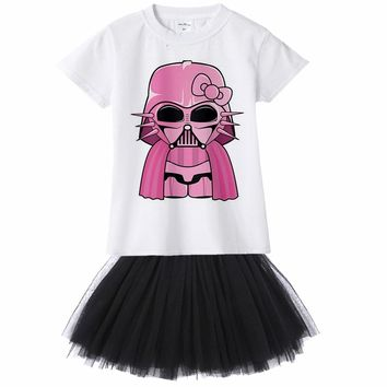 Darth Vader Hello Kitty Summer Girl Dress Birthday Tutu Dress Star War Baby Dresses for Girl 1 2 3 4 5 6 7 8 9 10 11 To 12 Years