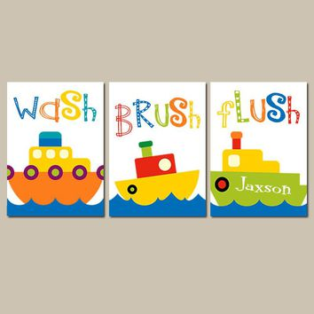 Boat BATHROOM Wall Art, CANVAS or Prints Name Nautical Bath Wash Brush Flush Set of 3 Decor Kid Children Bath Pictures,  Wall Decor Pictures