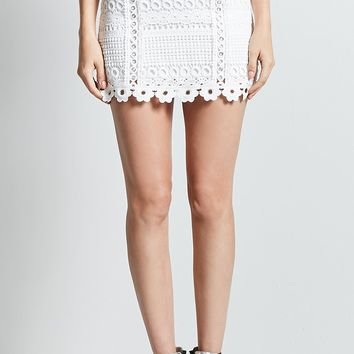 Crochet Grommet Mini Skirt
