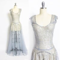 Vintage 1930s Dress - Ice Blue Tulle Sheer Sequined Full Length Gown 30s - Medium
