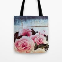 pink rose on old tile Tote Bag by Clemm