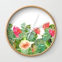 scratched cactus Wall Clock by clemm