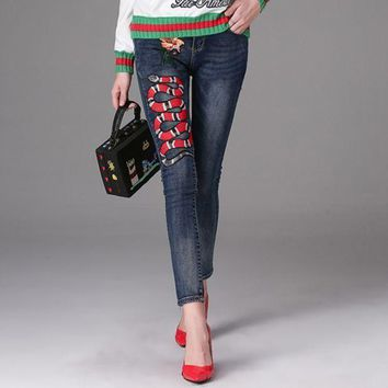 DCCKL72 x1love  ¡°Gucci'¡°Gucci'pants Embroider pants cotton imitation cowboy casual pants