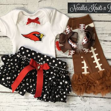 Girls Arizona Cardinals Outfit, Baby Girls Cardinal Football Coming Home Outfit, Girls Cardinals Cheerleader Outfit