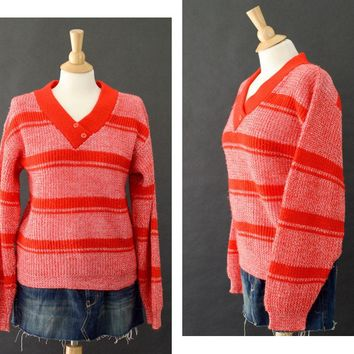 70s V Neck Sweater, Thick Knit Crochet Sweater, Chunky Red Sweater, Stripped Winter Sweater, Red Holiday Sweater, Women's Size Small
