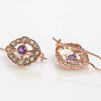 Amethyst Drop Earrings with Rose Cut Diamonds Wreath Vintage Style in 14K Rose Gold Wire back with hook and lever