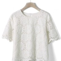 Floral Embroidery White Top