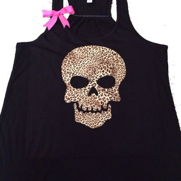 Skull Tank - Leopard - Ruffles with Love - Skull - Fun Tank - Workout Tank - Womens Fitness