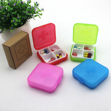 4 Slots Cross Portable Plastic Medical Medicine Drug Storage Box Jewelry Beads Organizer Mini Pill Cases