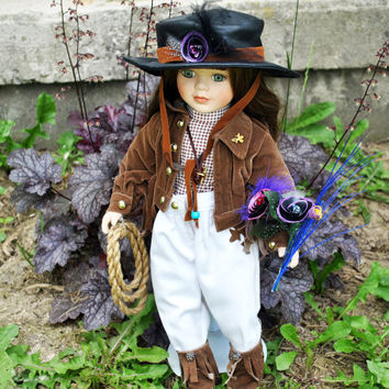 Cowgirl Standing Doll-Country Western Doll-Cowgirl Outfit Doll-Hand Turned Flowers From Upcycled Pencil Shavings