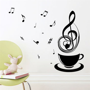Relaxing partten Music Tea Coffee Cup DIY public office food store kitchen decorative home decal wall sticker fashion mural art