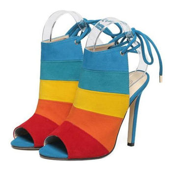 High Thin Heel Chromatic Color Rainbow Peep-toe Sandals  colorful  35
