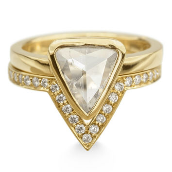 Triangle Diamond 14k Gold Engagement Ring