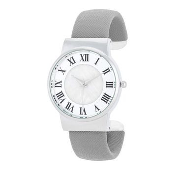 Fayth Classic Grey Leather Cuff Watch