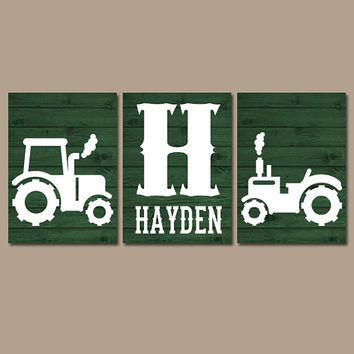 Tractor Wall Art, Canvas or Prints, Rustic Country Nursery Pictures, Big Boy Bedroom, Baby Boy Name, Tractor Decor, Green Faux Wood Set of 3