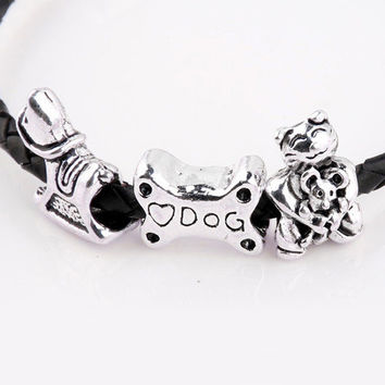 New Silver Plated Bead Charm Vintage Love Dog Bone Wooden Horse Fortune Cat Bead Fit Pandora Bracelet Bangle DIY Jewelry HKC0099