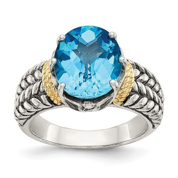 Sterling Silver Two Tone Silver And Gold Plated Sterling Silver w/Swiss Blue Topaz Ring