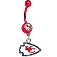 Officially Licensed NFL Kansas City Chiefs Dangle Belly Ring