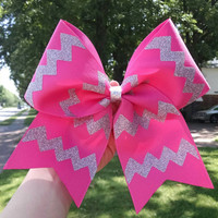 Chevron Cheer Bow, Softball Bow, YOU PICK COLORS, Custom Cheer Bow, Sparkly Cheer Bow, glitter cheer bow, custom softball bow, team bows