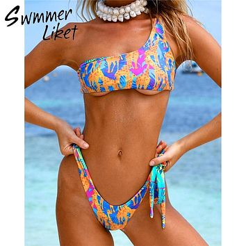 Animal print one shoulder bathing suit summer 2019 bathers Brazilian bikini thong Extreme sexy swimsuit micro swimwear women new