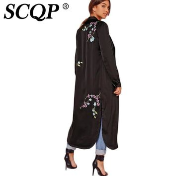 SCQP Floral Embroidered Black Trench Coat Ladies Elegant Fashion Womens Trench Coats Long Autumn Loose High Quality Cardigan