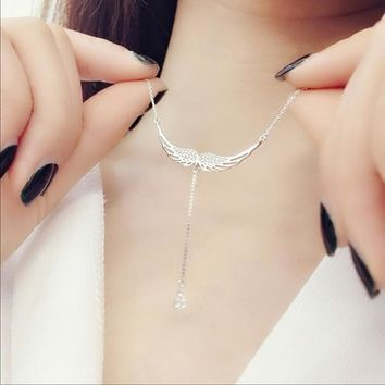 Solid 925 Sterling Silver Fine Wedding Jewelry Angel Wings AAA Cubic Zirconia Choker Necklaces & Pendants For Women Gift