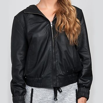 BB DAKOTA Hooded Leather Bomber