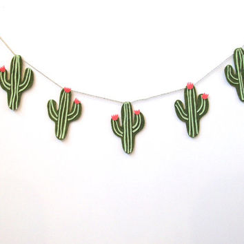 Super fun felt cactus banner, southwesten cacti banner in light and dark green