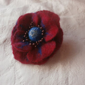 Felt brooch, felt flower,red  flower, red jewelry,wool felt brooch flower, felt flower brooch, blue red brooch,poppy flower,blue accessories