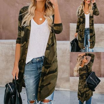 Womens Long Cardigan Camouflage Long Sleeve Coat Outerwear