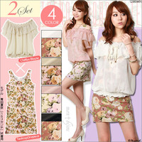 Rakuten: [two pieces of trendy coordinates set ♪ chiffon blouse X floral design tank dress set  ] E]It has been had ◆- Shopping Japanese products from Japan