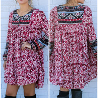 Miles Away Berry Mixed Print Peasant Dress With Cinched Sleeves & Button Down Detail