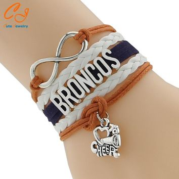 Drop Shipping Infinity Love Denver Broncos Bracelet-Custom Football Team Bracelet Friendship Gift