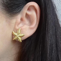 Elegant starfish earrings sterling silver 925 gold plate 22K,earrings womens, jewelerry womens gift sale
