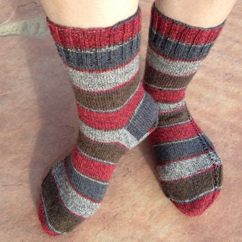 Hand Knitted Socks for women, girl, boy, winter accessories, ready to ship, Christmas gift size 8-9