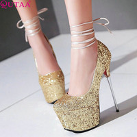 QUTAA Concise PU leather+Sequin Ladies Shoes Thin High Heel Woman Pump Pointed Toe Women Wedding Shoes Size 34-43