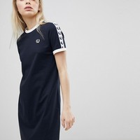 Fred Perry Logo Tape Ringer T-Shirt Dress at asos.com