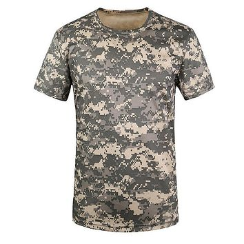 SYB Camouflage T-shirt Men Breathable Army T actical Combat T Shirt Military Dry Camo Camp Tees-ACU Green