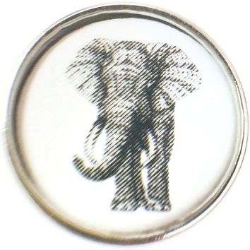 Black And White Sketch Art Elephant Picture 18MM - 20MM Fashion Snap Jewelry Charm