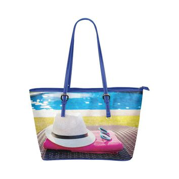 Water Resistant Small Leather Swim Pool Tote Bags (5 colors)